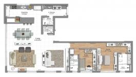 140m² Opção 2D - living extendido